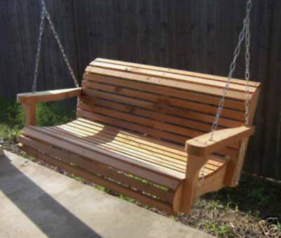 New 7 Foot Cedar Porch Swing Tree Contoured Seat With Heavy Duty Chain & Springs | Ebay Within Contoured Classic Porch Swings (View 4 of 20)