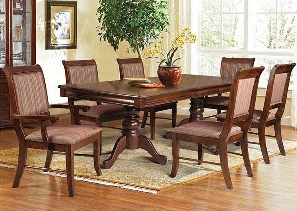 New 7pc Phillipe Espresso Finish Wood Dual Pedestal Dining Table Set Regarding Preferred Cappuccino Finish Wood Classic Casual Dining Tables (View 9 of 20)