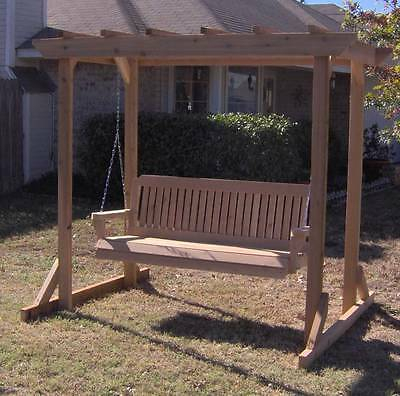 New Cedar Garden Arbor 4 Foot Porch Swing Stand With Heavy Duty Chain &  Springs | Ebay In Porch Swings With Stand (#9 of 20)