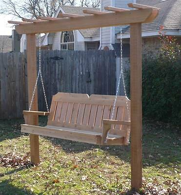 New Cedar Wood Garden Arbor & 5 Ft Porch Swing Stand Heavy Duty Hanging  Rope | Ebay Pertaining To Pergola Porch Swings With Stand (#6 of 20)