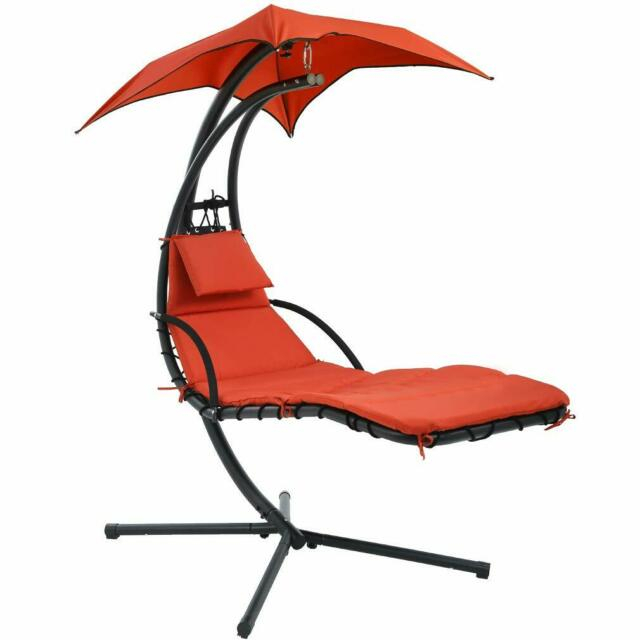 New Hanging Chaise Lounger Chair Arc Stand Air Porch Swing Hammock Chair Canopy In Outdoor Canopy Hammock Porch Swings With Stand (View 11 of 20)