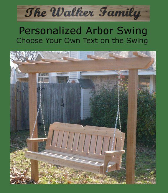 New Personalized Cedar Post Arbor And 5 Foot Porch Swing With Regard To A4 Ft Cedar Pergola Swings (View 2 of 20)