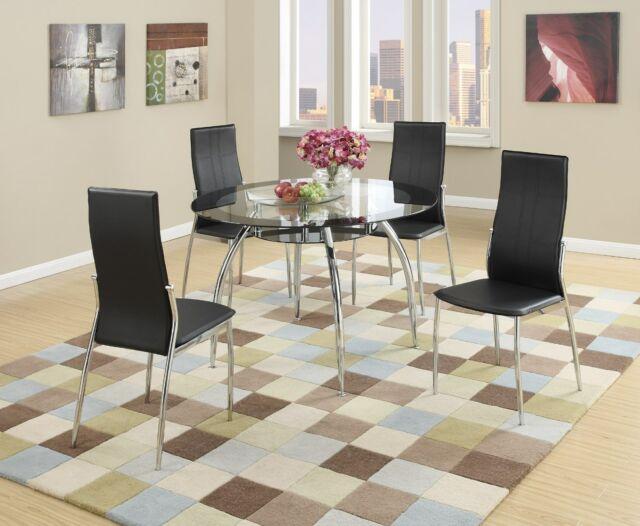New Tulsa Ii Modern Round Black Chrome Metal Glass Top Dining Table Kitchen  Set Pertaining To Popular Modern Round Glass Top Dining Tables (#11 of 20)