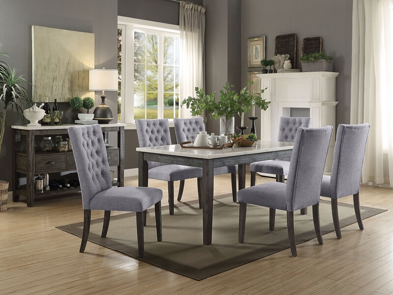 Newest Acme 70165 68 7 Pc Merel White Marble Top Gray Oak Finish Wood Dining Table  Set Pertaining To Dining Tables With White Marble Top (#15 of 20)