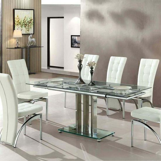 Newest Chrome Contemporary Square Casual Dining Tables In Rihanna Extending Glass Dining Table In Clear And Chrome Support (#13 of 20)