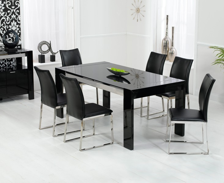 Newest Dining Tables With Black U Legs Pertaining To Sophia Black Dining Table – High Gloss Table Legs In Black (View 15 of 20)