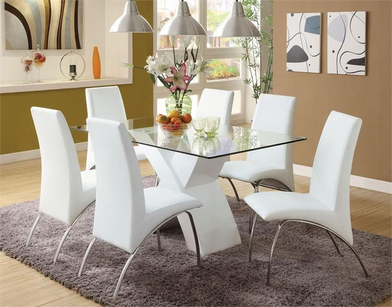 """Newest Eames Style Dining Tables With Chromed Leg And Tempered Glass Top Inside 59"""" Lydia Glass Chrome White Table Set (#14 of 20)"""