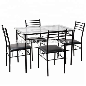 Newest Glass Dining Tables With Metal Legs For C344 Square Glass Dining Table And Chair Sets Metal Legs And Top Glass  Dining Table With Modern Design Dining Room Furniture – Buy Glass Top  Dining (#16 of 20)