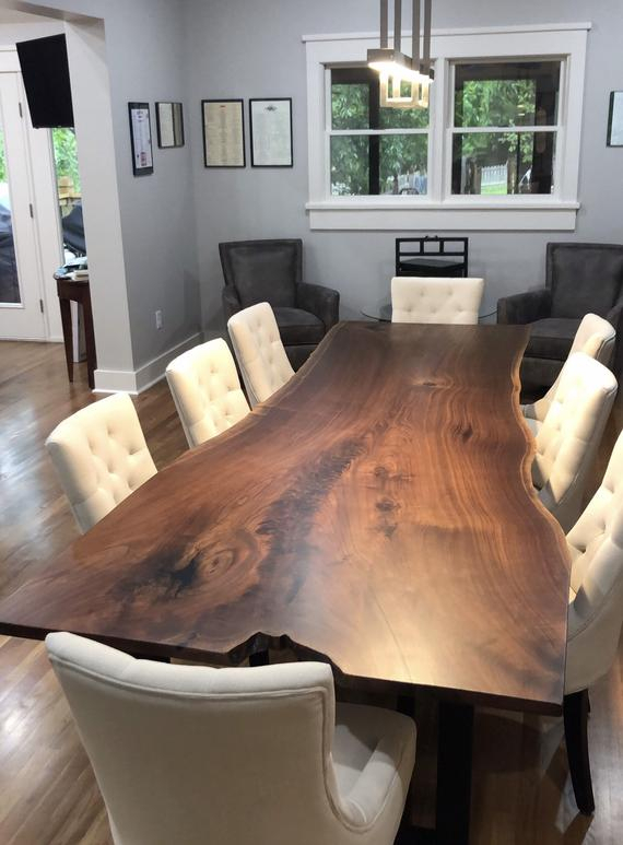 Newest Live Edge Dining Table/ Live Edge/ Black Walnut Table/wood Table/ Kitchen  Table / Wood Dining Table/ Wood Slab Table/ Modern Table Intended For Walnut Finish Live Edge Wood Contemporary Dining Tables (#9 of 20)