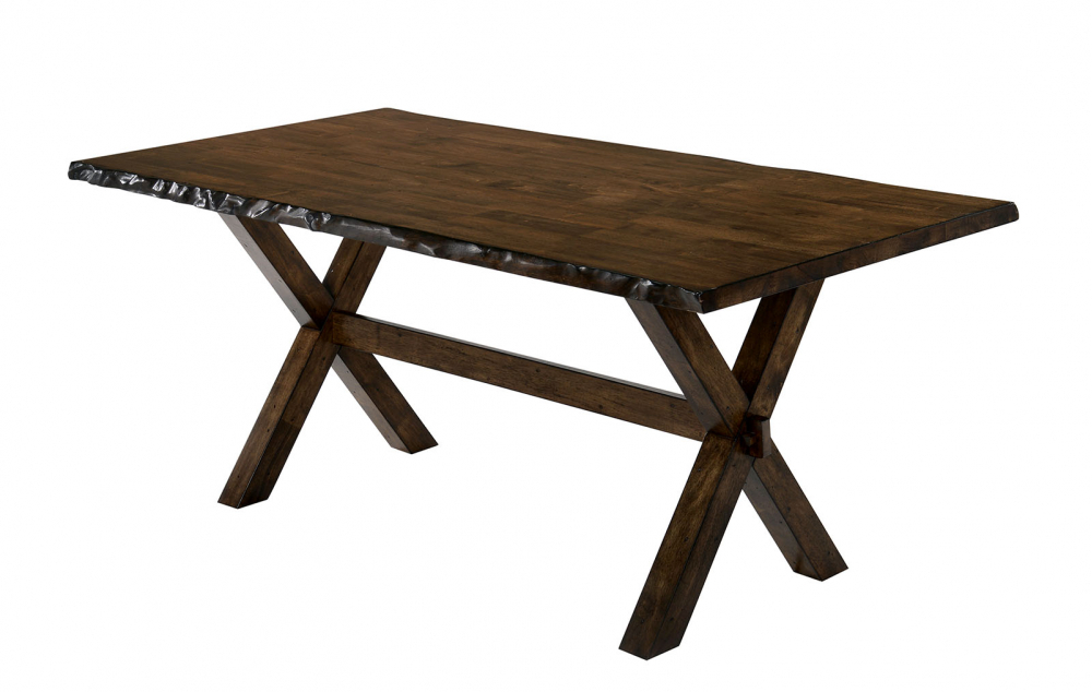 Newest Transitional Rectangular Dining Tables Intended For Transitional Style Solid Wood Rectangular Dining Table With Trestle Base,  Brown (#11 of 20)