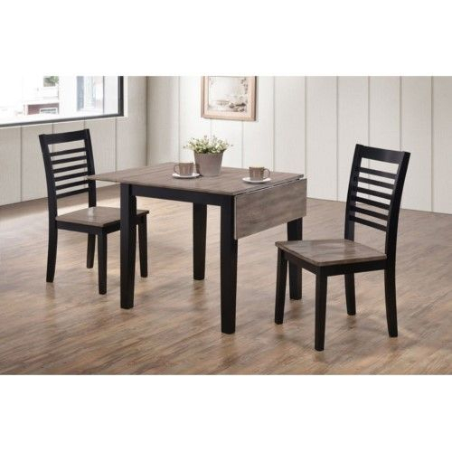 Newest United Furniture Hampton 3 Piece Drop Leaf Set – Ebony And Inside Transitional 3 Piece Drop Leaf Casual Dining Tables Set (View 2 of 20)