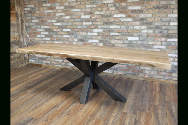 Newest Urban Acacia Wood Dining Table – Heavy Iron Legs Throughout Acacia Dining Tables With Black Legs (View 12 of 20)