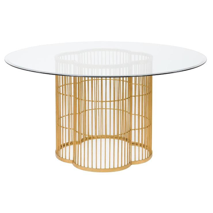 Noore Gold Leaf Glass Dining Table Regarding Latest Modern Gold Dining Tables With Clear Glass (#17 of 21)