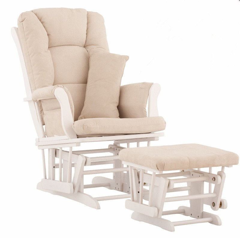 Nursery Rocker And Gliders Ottoman Wood Rocking Chair With Regarding Rocking Glider Benches With Cushions (View 15 of 20)