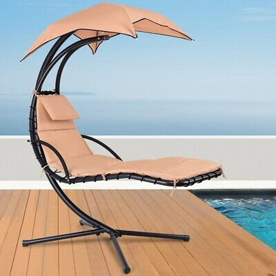 Orange Patio Lounge Hanging Arc Stand Porch Swing Hammock Chair With Canopy | Ebay With Regard To Outdoor Canopy Hammock Porch Swings With Stand (View 6 of 20)