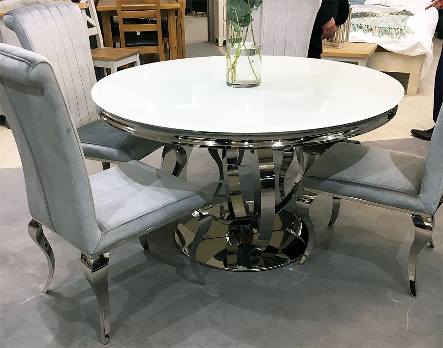 Orion Round White Glass Top And Chrome Dining Table 130Cm Pertaining To Well Liked Modern Glass Top Extension Dining Tables In Matte Black (#19 of 20)