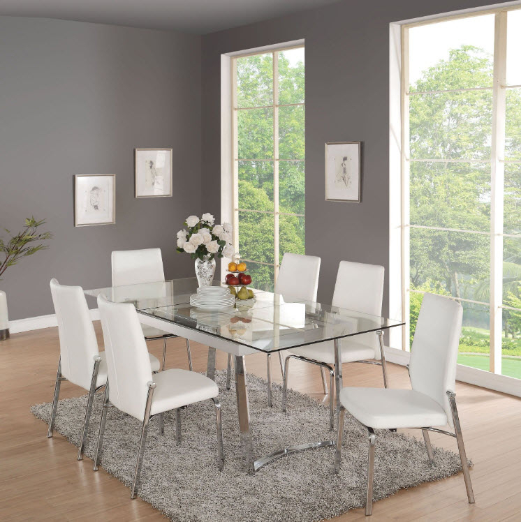 Osias Tempered Glass Dining Table Intended For Fashionable Chrome Dining Tables With Tempered Glass (#15 of 20)