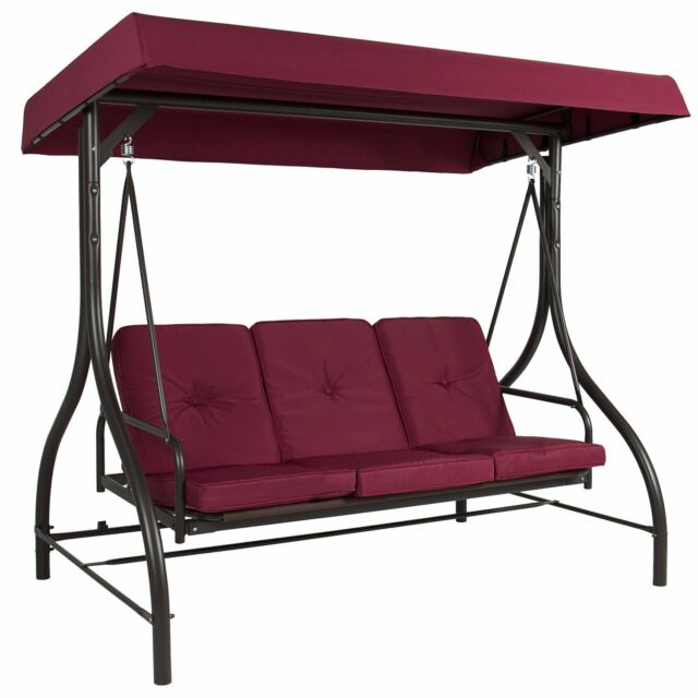 Outdoor 3 Person Patio Porch Swing Hammock Bench Canopy Loveseat  Convertible Bed With Regard To Patio Glider Hammock Porch Swings (#11 of 20)