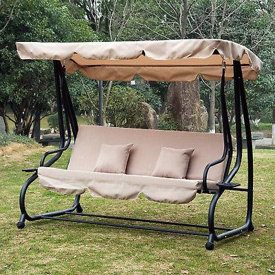 Outdoor 3 Person Patio Porch Swing Hammock Bench Canopy Regarding Patio Loveseat Canopy Hammock Porch Swings With Stand (View 6 of 20)