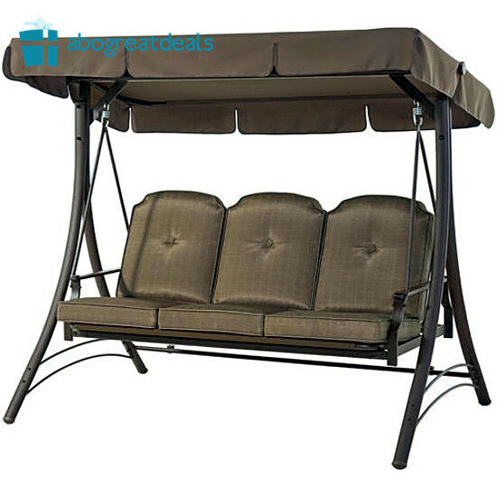 Outdoor 3 Seat Porch Swing With Canopy Patio Furniture Cushion Chair  Hammock Bed Throughout Porch Swings With Canopy (#10 of 20)