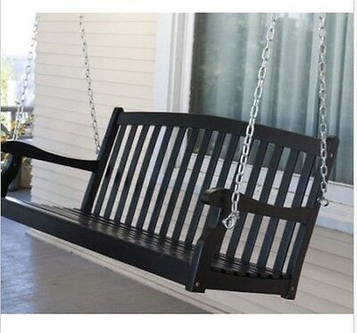 Outdoor 4 Ft Wood Porch Swing Black Seat 2 Person Bench Slat Within 2 Person Black Wood Outdoor Swings (View 10 of 20)