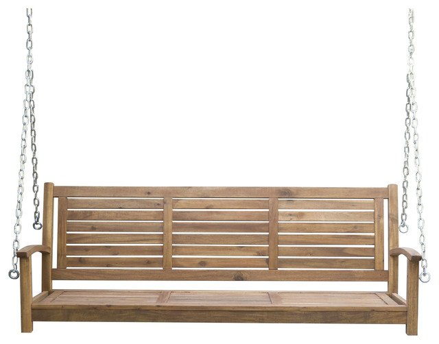 Outdoor 5' Slatted Porch Swing, Natural Acacia Wood With Hanging Chain In Porch Swings With Chain (#10 of 20)