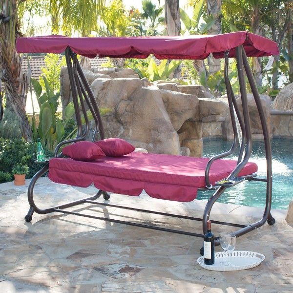 Outdoor Canopy Porch Swing/bed Hammock Tilt Canopy With Throughout Outdoor Canopy Hammock Porch Swings With Stand (View 7 of 20)
