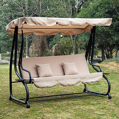 Outdoor Canopy Swing Patio Chair Lounge 3 Person Seat Throughout Patio Loveseat Canopy Hammock Porch Swings With Stand (View 17 of 20)