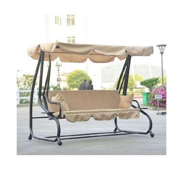 Outdoor Canopy Swing Patio Porch Shade Deck Bed In Sand In For 2 Person Outdoor Convertible Canopy Swing Gliders With Removable Cushions Beige (View 16 of 20)