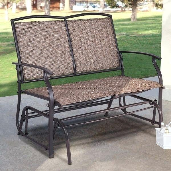 Outdoor Double Glider Rocker Plans Patio G – Techvay With Regard To Padded Sling Double Glider Benches (View 17 of 20)