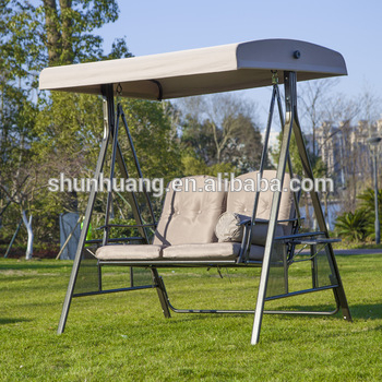 Outdoor Garden Swing Chairs Double Seat Metal Frame Swings With Canopy – Buy Metal Swing Chairs,garden Swing,swings With Canopy Product On Alibaba For 3 Person Red With Brown Powder Coated Frame Steel Outdoor Swings (View 11 of 20)