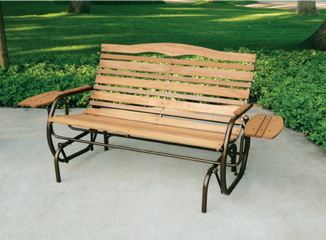 Outdoor Glider Patio Deck Rocker Bench Double Seat Wood Trays Garden Back  Yard Inside Double Glider Benches With Cushion (#15 of 20)