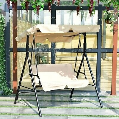 Outdoor Patio 2 Person Porch Swing With Adjustable Tilt Intended For 2 Person Adjustable Tilt Canopy Patio Loveseat Porch Swings (View 16 of 20)