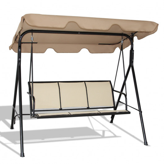 Outdoor Patio 3 Person Porch Swing Bench Chair With Canopy Pertaining To Porch Swings With Canopy (#12 of 20)