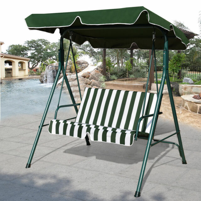 Outdoor Patio Canopy Swing Cushioned Chair Iron 2 Person Yard Furniture  Green With 2 Person Antique Black Iron Outdoor Swings (#8 of 20)