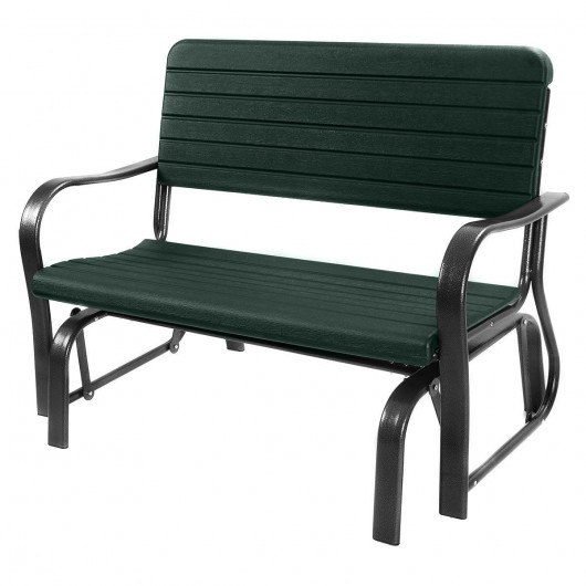 Outdoor Patio Steel Swing Bench Loveseat Regarding 2 Person Antique Black Iron Outdoor Gliders (#11 of 20)