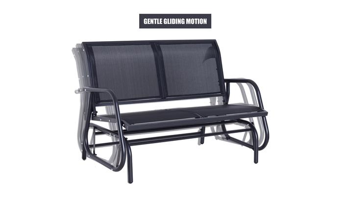 Outdoor Patio Swing Glider Bench Chair – Dark Gray With Outdoor Steel Patio Swing Glider Benches (View 18 of 20)