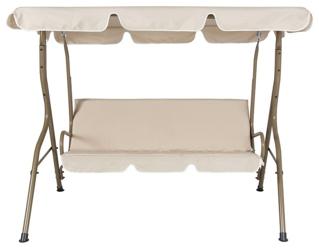 Outdoor Porch Swing Patio Deck Glider With Canopy In Beige With Regard To 2 Person Adjustable Tilt Canopy Patio Loveseat Porch Swings (View 14 of 20)