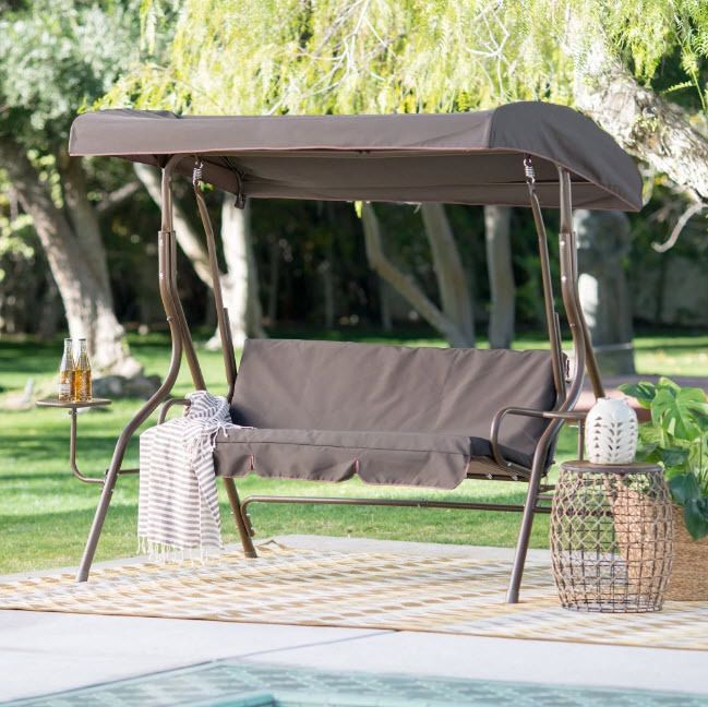 Outdoor Swing Canopy Patio 2 Person Side Tables Adjustable With Regard To 2 Person Adjustable Tilt Canopy Patio Loveseat Porch Swings (View 3 of 20)
