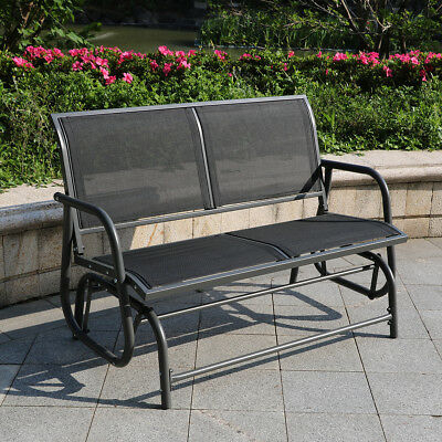 Outdoor Swing Glider 2 Person Patio Rocking Chair Loveseat Throughout 2 Person Gray Steel Outdoor Swings (#13 of 20)