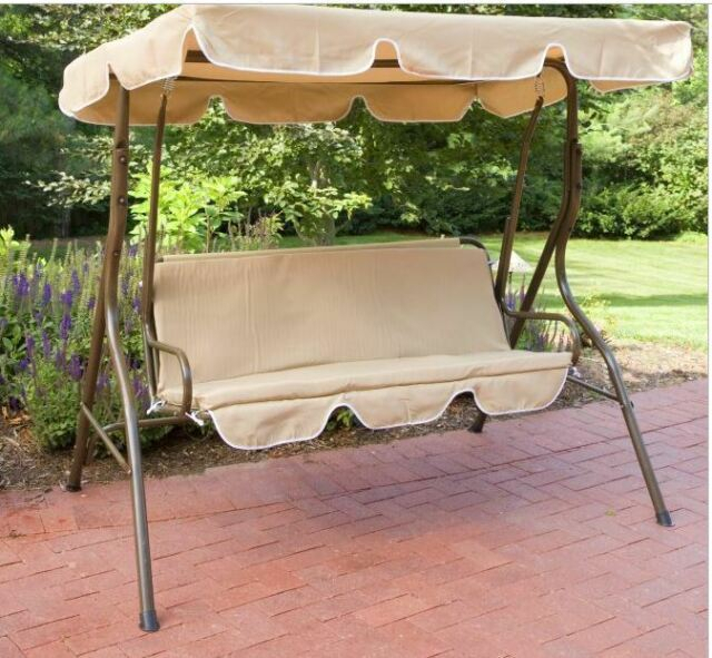 Outdoor Swing Glider Canopy Yard Seat Poolside Garden Steel Furniture New For 2 Person Outdoor Convertible Canopy Swing Gliders With Removable Cushions Beige (View 8 of 20)