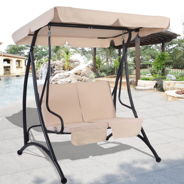 Outdoor Swing With Canopy 2 Person Patio Porch Steel Swing Double Hanging Seat Inside Patio Porch Swings With Stand (View 3 of 20)