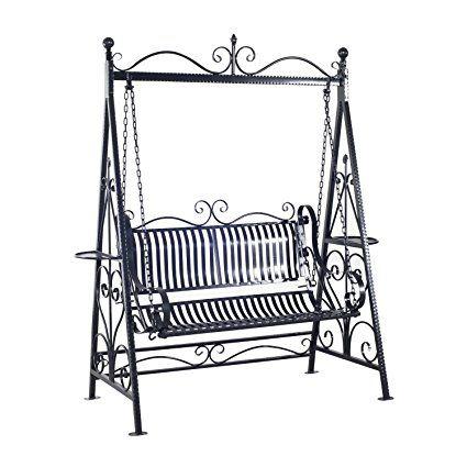 Outsunny 2 Person Outdoor Metal Garden Swing – Black | Porch Regarding 2 Person Gray Steel Outdoor Swings (View 12 of 20)