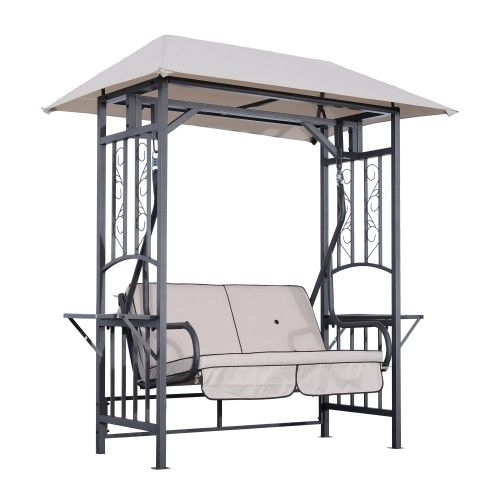 Outsunny 2 Person Patio Swing Chair W/ Canopy Shade – Beige With Regard To 2 Person Gray Steel Outdoor Swings (#15 of 20)