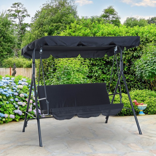 Outsunny 3 Seater Metal Frame Outdoor Patio Swing Hammock Regarding 3 Seats Patio Canopy Swing Gliders Hammock Cushioned Steel Frame (View 13 of 20)