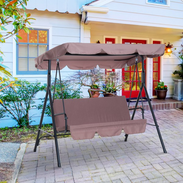 Outsunny Metal 3 Seater Outdoor Patio Swing With Canopy Cushioned Garden Lounger Brown Throughout 3 Seats Patio Canopy Swing Gliders Hammock Cushioned Steel Frame (View 8 of 20)