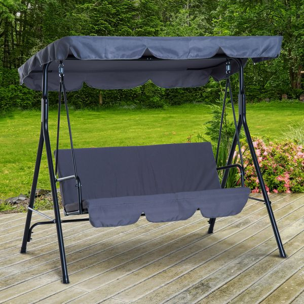 Outsunny Metal 3 Seater Outdoor Patio Swing With Canopy Cushioned Garden Lounger Grey For 3 Seats Patio Canopy Swing Gliders Hammock Cushioned Steel Frame (View 18 of 20)