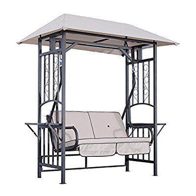 Outsunny Outdoor Garden 2 Seater Canopy Swing Chair Seat Pertaining To 2 Person Black Wood Outdoor Swings (View 20 of 20)