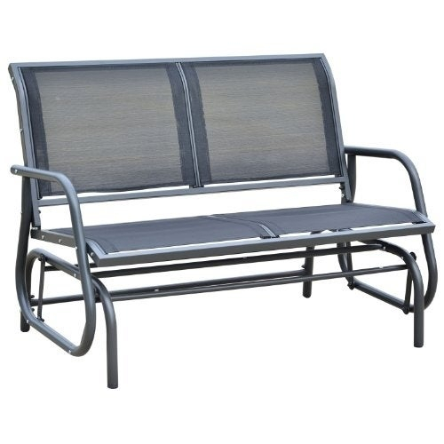 Outsunny Outdoor Patio Swing Glider Bench Chair Regarding Black Outdoor Durable Steel Frame Patio Swing Glider Bench Chairs (View 2 of 20)