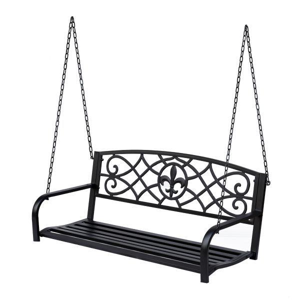 Outsunny Outdoor Steel Fleur De Lis Porch Swing Garden Regarding 2 Person Antique Black Iron Outdoor Swings (View 2 of 20)